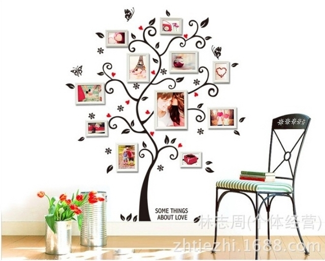 Photo Frame Family Tree Decal Wall Decals Wall Decor: Black Photo Tree Wall Stickers Stencil Piture Frame Family