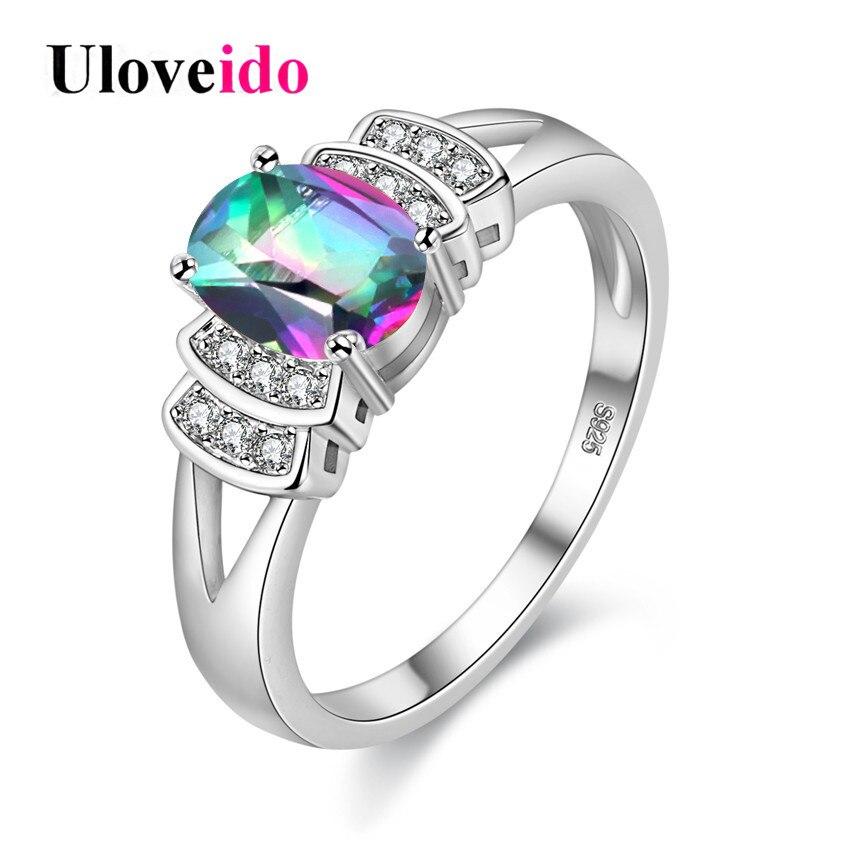377e18f5ef07 Uloveido anillo místico Arco Iris anillos para las mujeres de moda Rosa  Color de plata