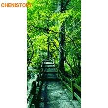Картина по номерам на холсте зеленые деревья 60x120 см
