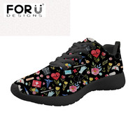 FORUDESIGNS Casual Women Black Flats Shoes Love to Care Medical Design Comfort Sneakers for Ladies Girls Light Mesh Nursing Shoe