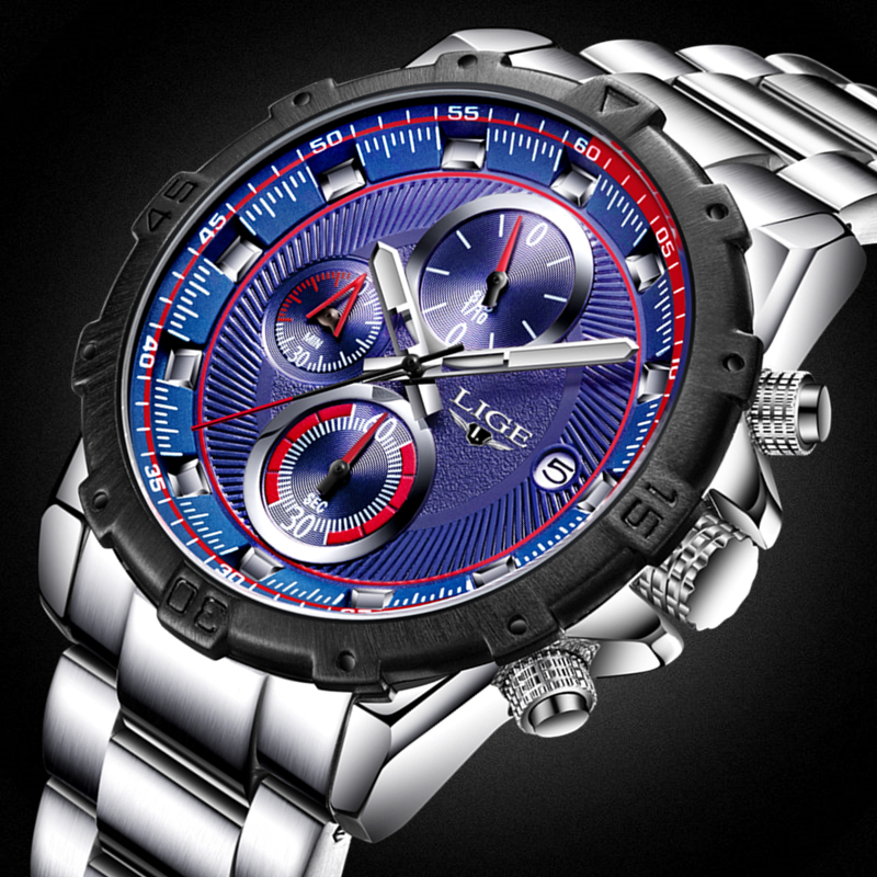 LIGE Mens Watches Top Brand Luxury Full Steel Quartz Clock Sport Watch Men Casual Business Waterproof Watches Relogio Masculino lige waterproof sport watch men quartz full steel clock mens watches top brand luxury business wrist watch man relogio masculino