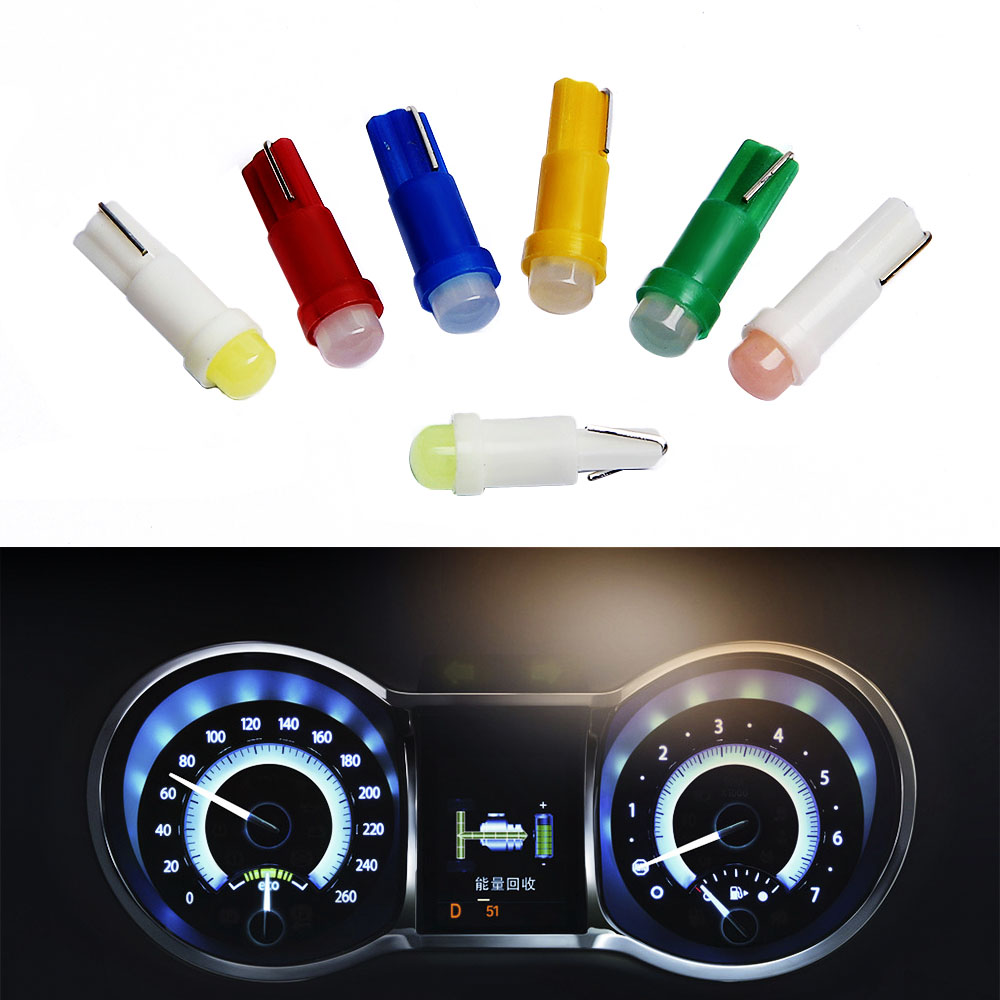 20pcs Car Interior T5 Led 1 SMD DC 12V Light Ceramic Dashboard Gauge Instrument Ceramic Car Auto Side Wedge Light Lamp Bulb t5 1 smd red dashboard wedge led car light bulb lamp 74 dash led car bulbs interior lights car light source parking 12v