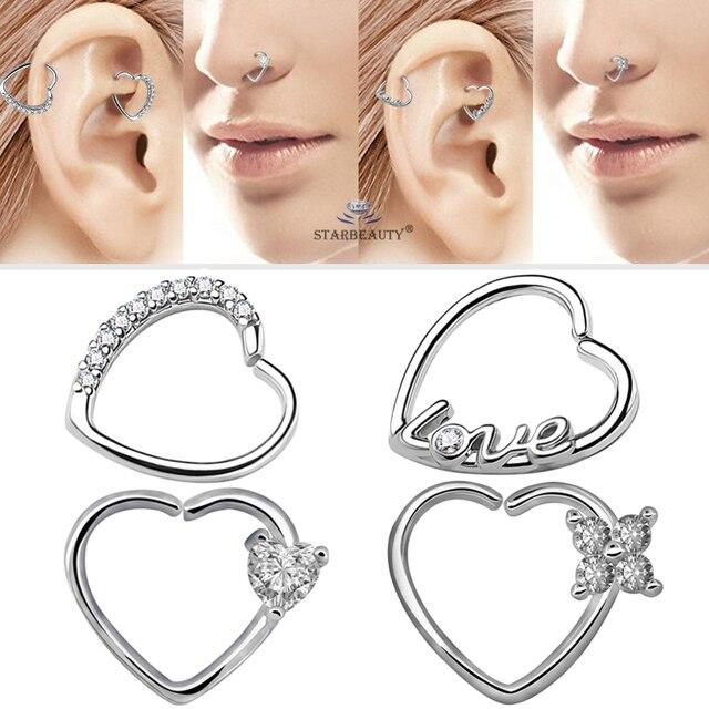 Starbeauty 2 шт/лот левое и правое ухо кольцо для пирсинга сердечко