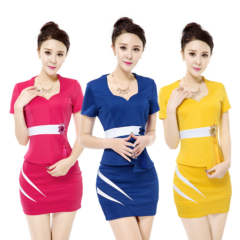 Sleeve Formal Short Patchwork Slim neck Women's red Acrmrac Blue Business Summer Jacket Skirt V Ol yellow Suits xO48qwH