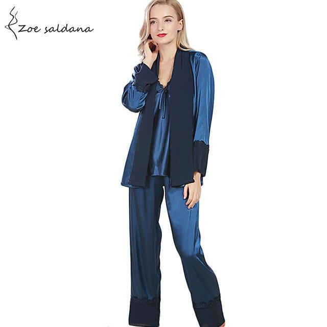 Zoe Saldana 2018 3 Pieces Robe Pajama Pants Sets Women Sleep Lounge Solid Nightshirt Long Pants Female Pajama Sets