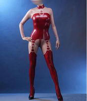 Tight fitting suit Latex Bodysuit with Socks Rubber Catsuit Club Latex clothing Customize