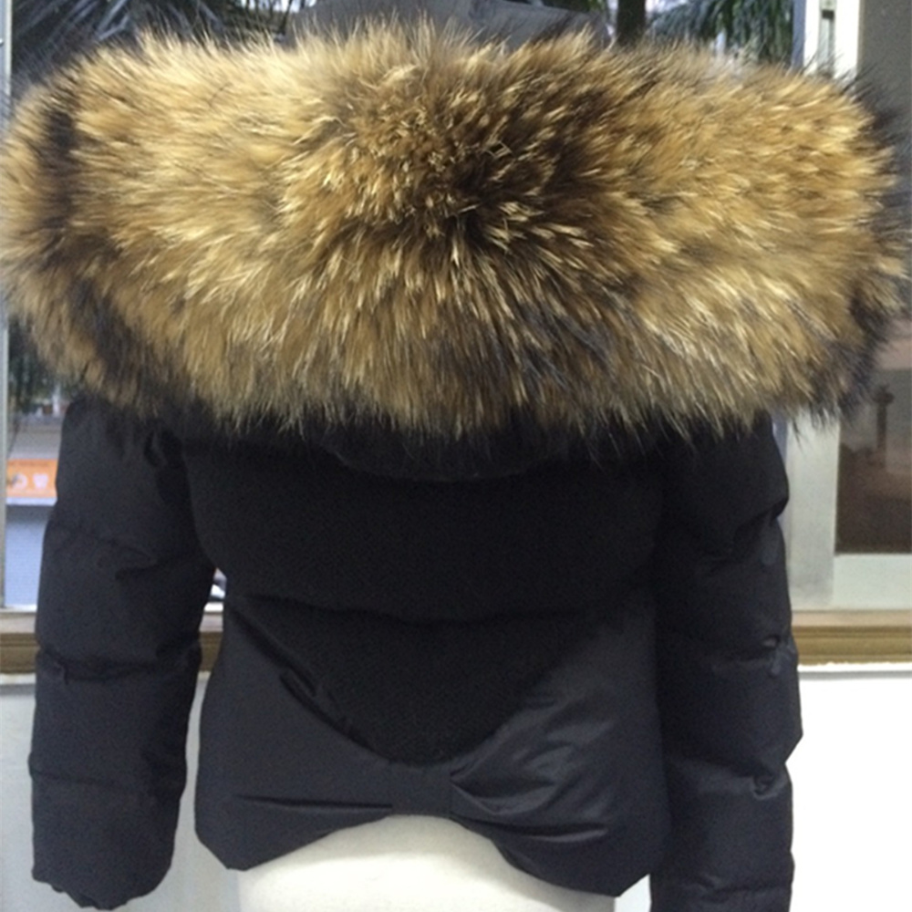 Soperwillton 2017 Luxury Large Raccoon Fur Hooded Coat Slim Puffer ...