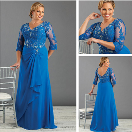 Blue 3/4 sleeve V Neck vestido de madrinha crystal appliques Vestido Mae Da Noiva Plus Size New 2015 Mother Of Bride Dresses