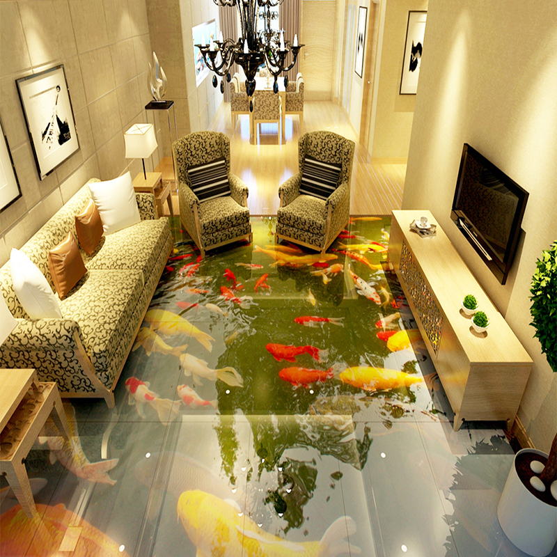 Custom Self Adhesive Waterproof Floor PVC Wallpaper Living Room Bathroom Chinese Style Carp Photo Murals 3D Floor Tiles Stickers