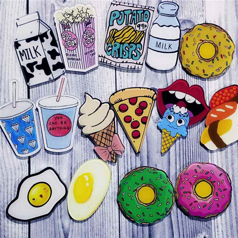 1 PZ Cartoon Pizza Bevande Latte Uovo Spilla Acrilico Distintivi Icone sullo Zaino Pin Distintivo Decorazione Badge per L'abbigliamento