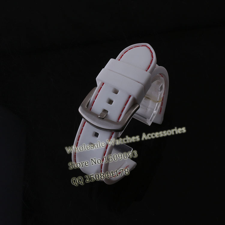 Natural Rubber watchband White with red Thread 22mm(buckle 20mm)Straps waterproof silicone bracelet watch halloween natural rubber bald ghost mask red white