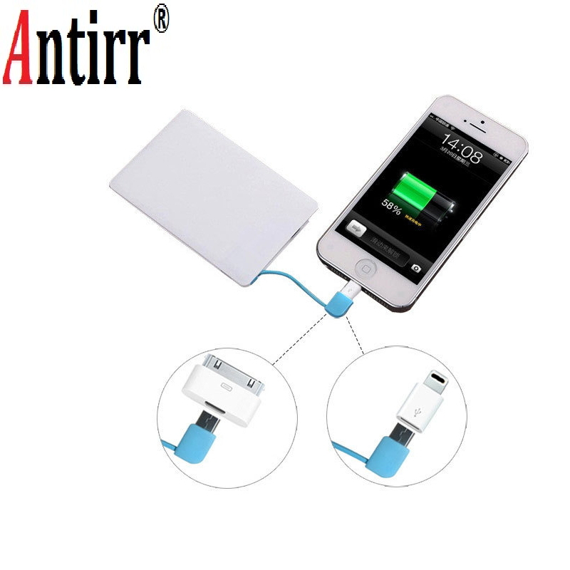 Portable Mini Ulter Slim Credit Card Wallet Size Power Bank 2600mAh Cell Phone Travel Charger External Battery ...