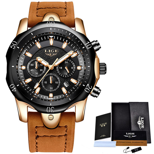 LIGE Men´s Luxury Casual Leather Military Waterproof Chronograph Sports Wrist Quartz Watches 1