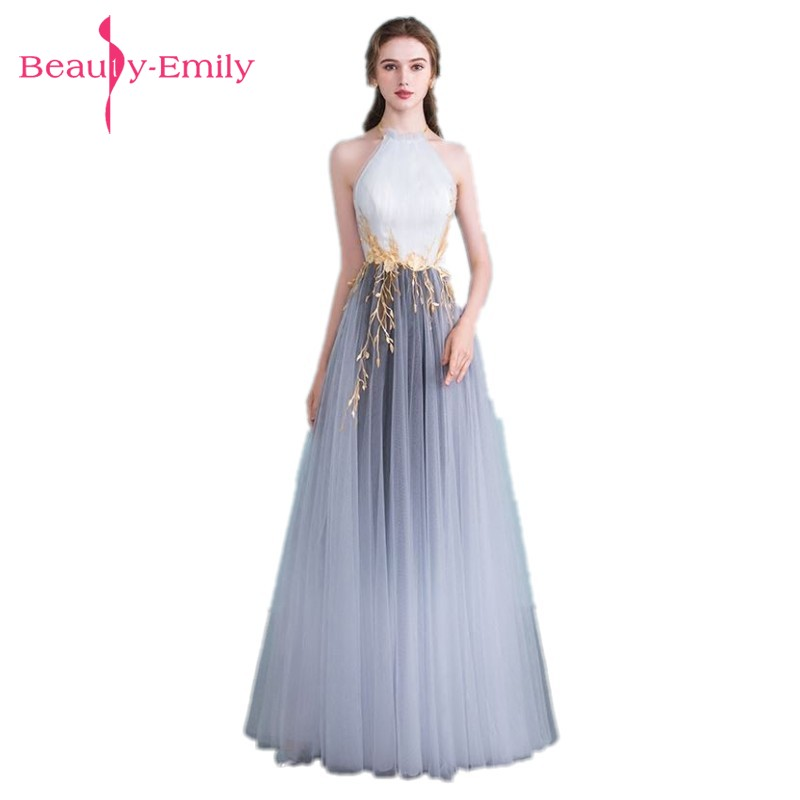 Beauty Emily Grey White Plus Size Evening Dresses 2018 Halt ...
