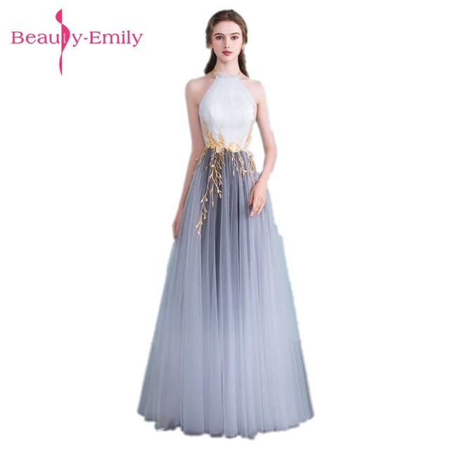 Beauty Emily Grey White Plus Size Evening Dresses 2018 Halt ...