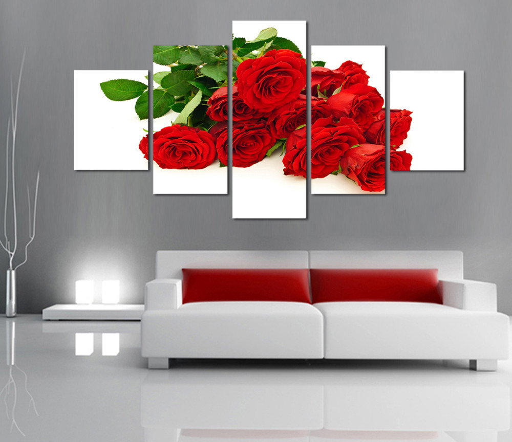 Painting Canvas For Living Room Red Rose Art Promotion Shop For Promotional Red Rose Art On