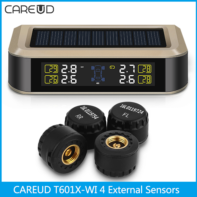 CAREUD T601X-WI Solar Auto Car TPMS Tire Pressure Monitoring System 4 External Sensors Intelligent Monitor Adjustable Brightness tpms tp620 car tire tire pressure alarm car tire diagnostic tool support bar and psi tire pressure monitor car electronics