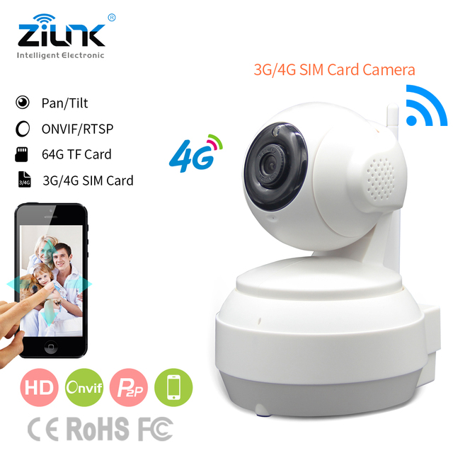 ZILNK 3G 4G SIM Card Mobile IP Camera HD 720P Video Transmission Via 4G FDD LTE Netowrk Worldwide Free APP For Remote Control