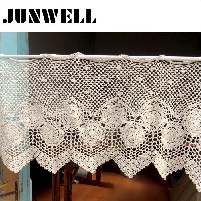 100% Cotton Crochet Curtain Valance Hand Work Kitchen