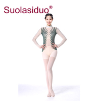 Fitness Dance Tops One piece Ballet Yoga Gymnastic Practice Clothes Long sleeved with Fake Diamond Decorated Mesh Tops for Girls