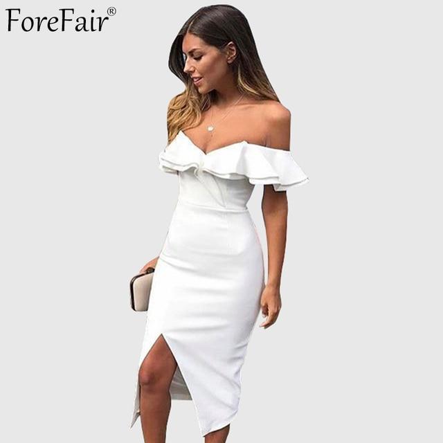 dbac1b8d9 ForeFair Summer Ruffles Strapless Club Party Dresses Women Autumn Black  White Yellow Sexy Split Long Bodycon