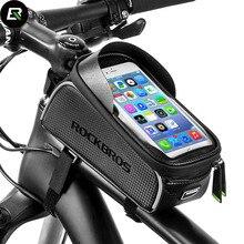 Rockbros велосипедная сумка водостойкая MTB велосипедная сумка 6 »сенсорный экран велосипед чехол для телефона велосипедная Передняя труба сумка велосипедные аксессуары Ciclismo