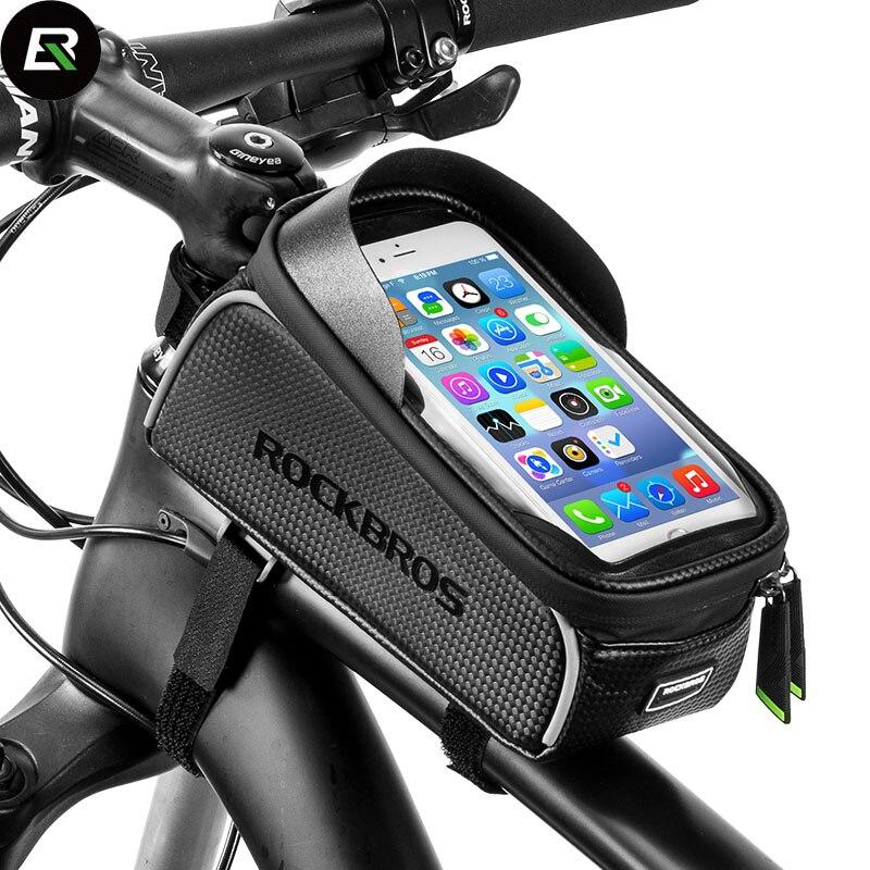 Rockbros VTT Vélo De Route Sac Noir Sac De Vélo Imperméable 6.0 Écran Tactile Vélo Avant Tube Sac Téléphone Cas Accessoires De Vélo dans Sacs de vélos et sacoches de Sports et loisirs