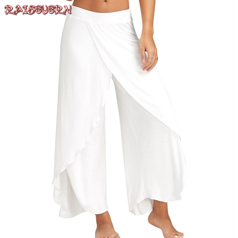 RAISEVERN Fashion Women Lady Flare Wide Leg High Waist Pants High Waist High Split Casual Long Loose Trousers Pants 2019