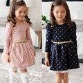 2017 3-11Y Nueva Otoño Invierno Niños Niñas Princesa Vestido de Lunares de Manga Larga Botones Edades de Vestir Con Cinturón