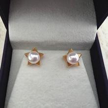 Eternal wedding Women Gift word 925 Sterling silver real Permanent natural seawater pearl earrings Japan Akoya star circle to 18