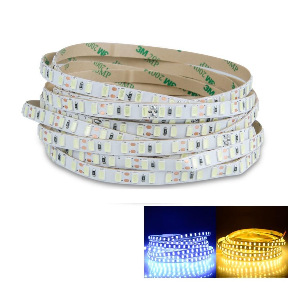 LED Strip Light 5730 SMD 120 LEDs/m DC 12V White / Warm White 5m 600 LED Tape Ribbon Tira Light SMD5730 Brighter than 5630 Diode стоимость