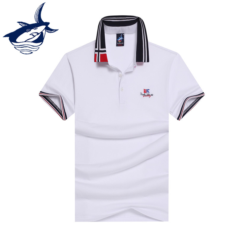Smart Casual Tace Shark Polo Shirt Men Cotton Breathable Solid