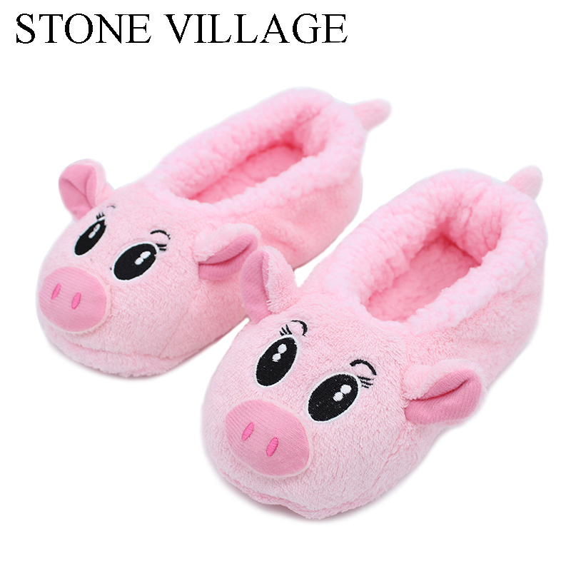 STONE VILLAGE Winter Cotton Slippers Pink Pig & Lovely Smiling Face Indoor Shoes Women Slippers Home Shoes Non-slip Soft Winter