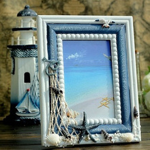 Free Shipping! Mediterranean Sea Style Wooden Photo Frame Creative Wooden Gift Home Decoration creative cute wooden photo frame nordic mediterranean picture frame tabletop decoration valentines day gift
