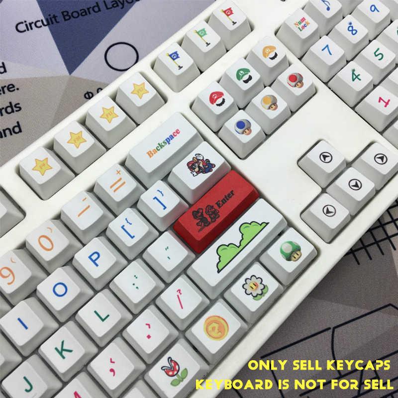 104-キースーパーマリオ人格熱昇華 PBT キーキャップ OEM プロファイル/オリジナル高メカニカルキーボードキーキャップチェリー MX