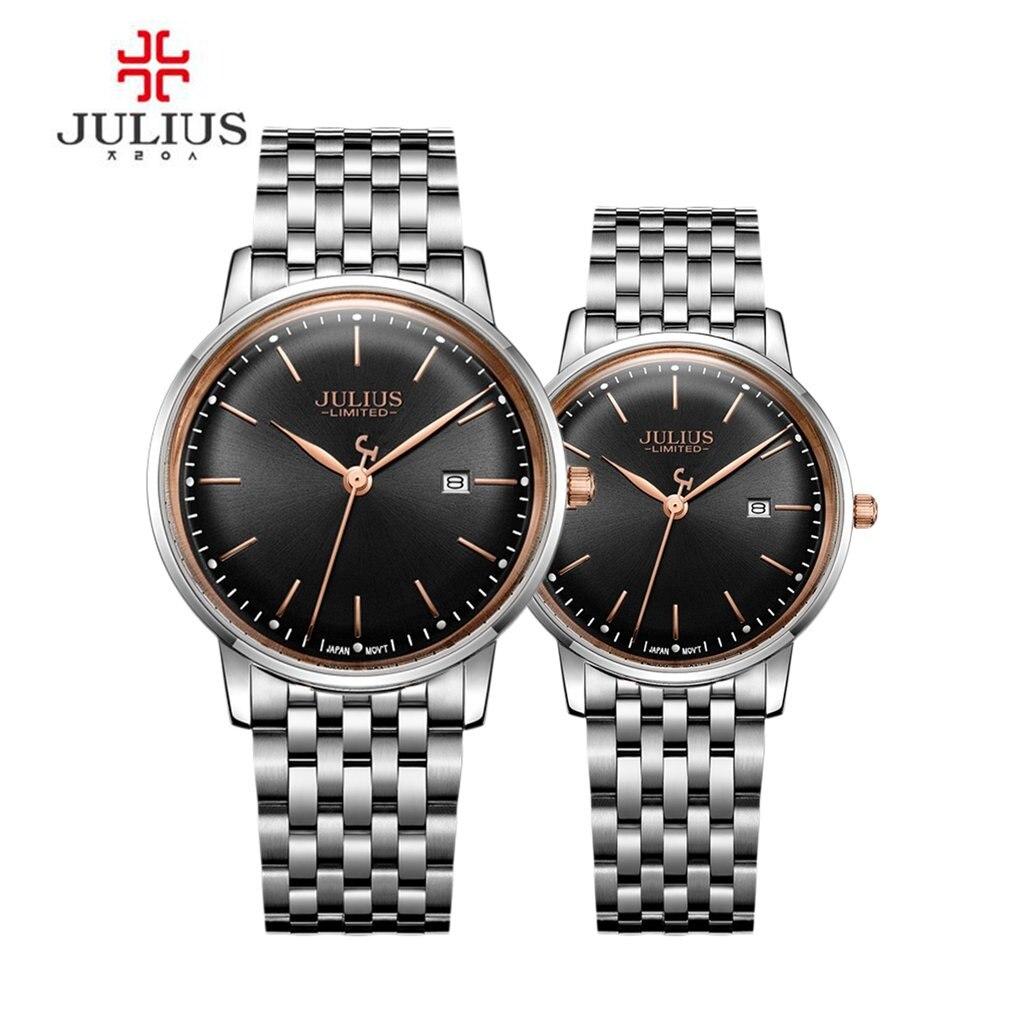 JULIUS Original Design Lover's Quartz Watch Ultra Thin Limited Edition Simple Slim Dial Auto Date Full Steel Montre Clock все цены