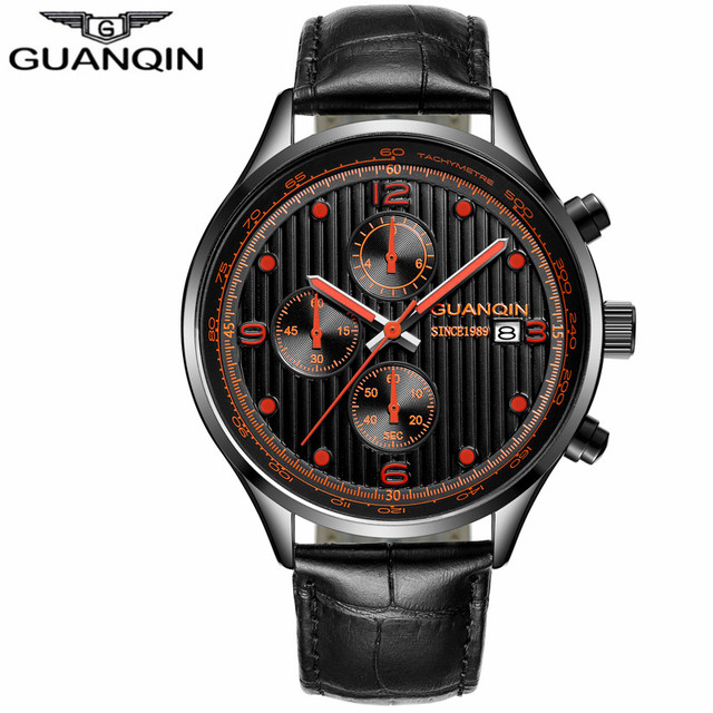 New GUANQIN Top Brand  Men Sport Casual Chronograph Clock Men  Classic Quartz Wristwatches Luxury Chronograph  Watch  men | Fotoflaco.net
