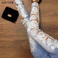 EIFFTER 2016 Women Lace Jeans Pants Floral Splice High Waist Jeans Casual Women Denim Pencil Pants Boyfriend Skinny Jeans 00335