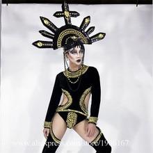 Новый готический Стиль сиамские Костюмы бальных танцев мужские костюмы пикантные вечерние шоу на сцене носит костюм DJ певица Bat платье для сцены
