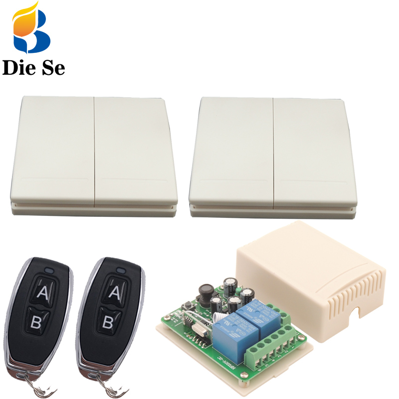AC85~250V 10A 2CH Remote Control Switch Wireless Relay Receiver 2 button For Light Bulb Lamp Wall Switch Wall Panel