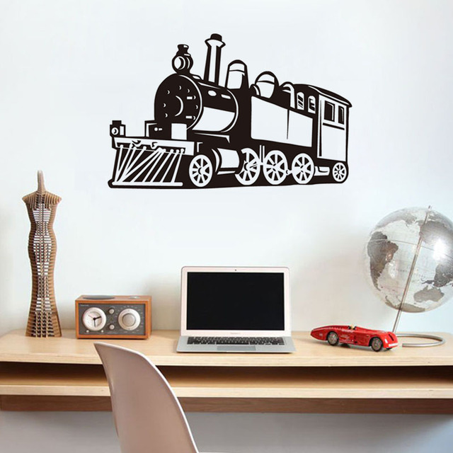DCTOP Small Steam Train Wall Decals Kids Fashion Train Wallpaper Adhesive  Removable Art Stickers