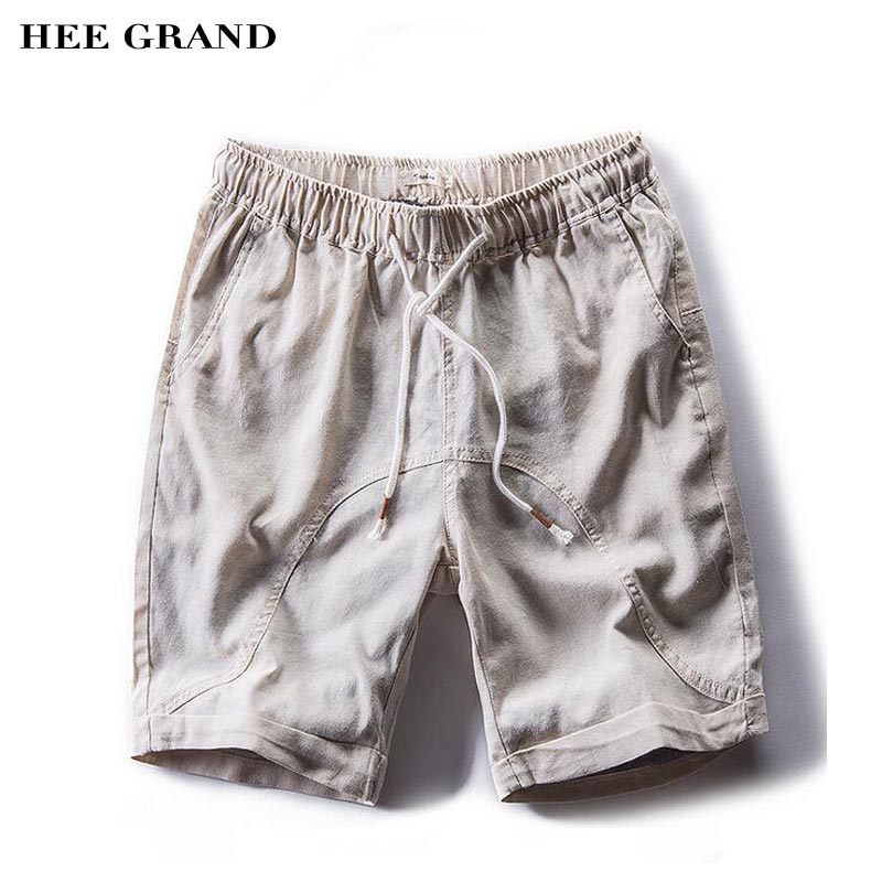 HEE GRAND Men Casual Shorts 2018 New Arrival Cotton Liner Breathable Material Solid Color Knee-Length Drawstring Shorts MKD1414