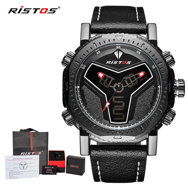 50e7f0991878 RISTOS Multifunction Leather Watches Men Fashion Sport Quartz Watch Reloj  Masculino Hombre Digital Analog LED Wristwatch 9341