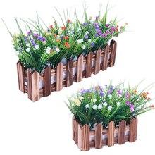 GQIYIBBEI Simulation Flower Fence Decorative Flowerpot Shooting Props Wooden Wedding Garden Decoration Suit