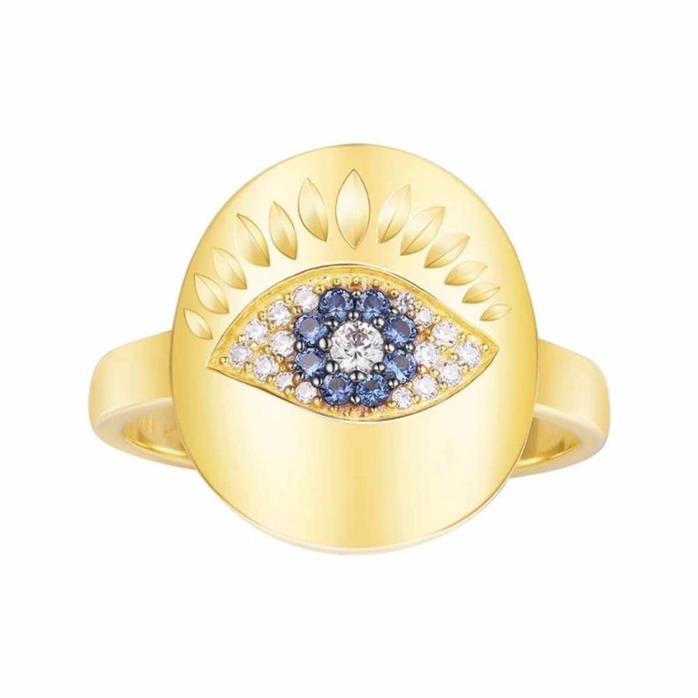 ZOZIRI monaco designer zircon Evil Eye Finger Ring ,solid 925 sterling silver yellow gold blue cz stone lucky ring women girls