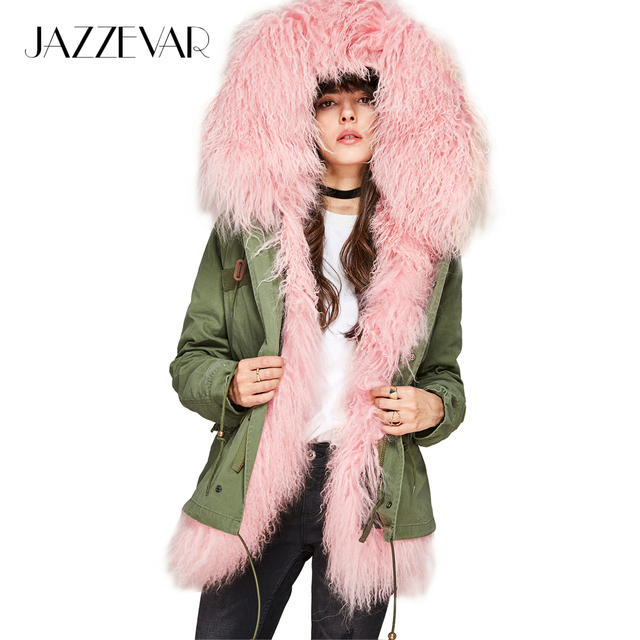 Jazzevar новые 2017 зимние женские Модные овчины овечьей шерстью мини парка роскошный Монголия овечьем меху пальто с капюшоном Верхняя одежда, куртки