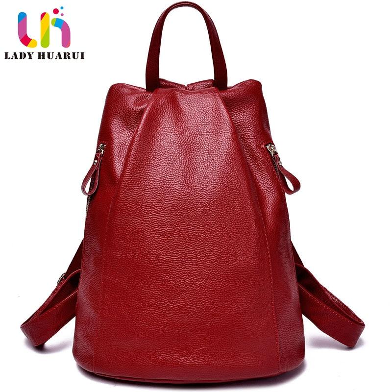 цена на LadyHuarui Brand for women vintage school bag women genuine leather backpacks for college girl travel bag backpacks for student