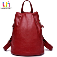 LadyHuarui Brand For Women Vintage School Bag Women Genuine Leather Backpacks For College Girl Travel Bag