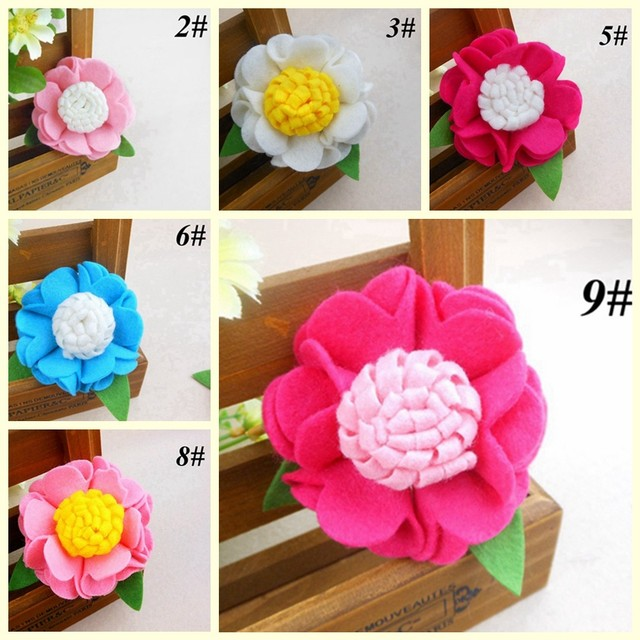 Sunshine store #2B2104  24 pcs/lot (7 Colors)girls baby Fall Hair Accessory  DIY Felt Ruffle flower without clip/headband  CPAM