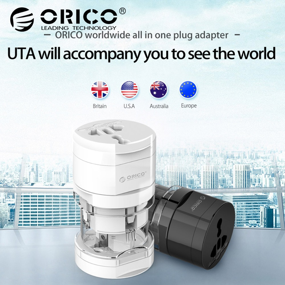 цена на ORICO UTA Travel Adapter Electrical Universal Adapter Plug Travel Power Socket Converter Outlet US/UK/EU/AU For Travel
